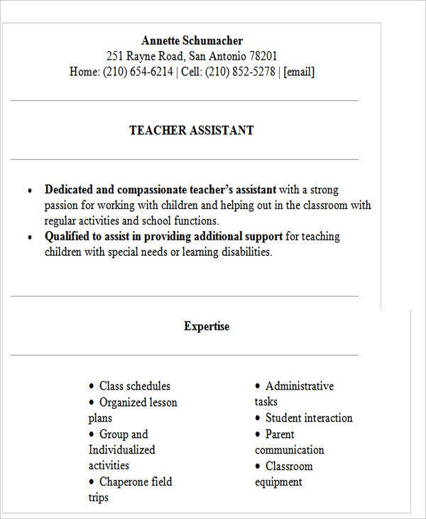 high school teacher assistant resume