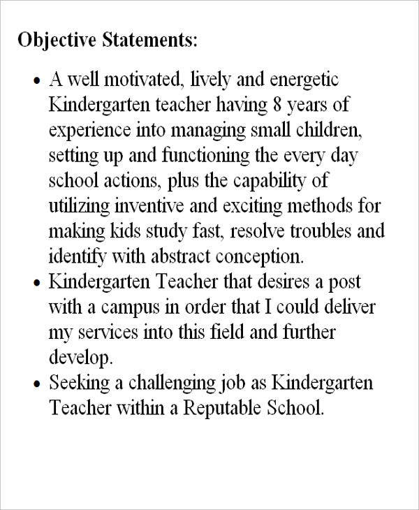 kindergarten teacher resume objective1