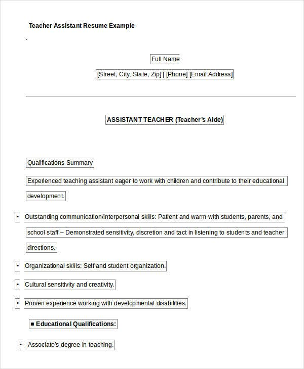 teacher assistant resume example1