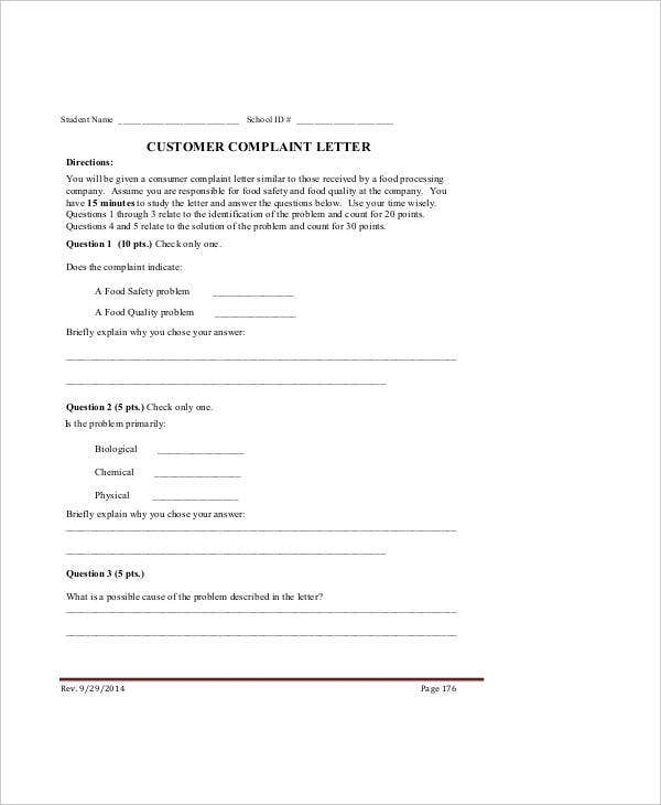 Complaint Letter Samples   Free Word Pdf Documents Download