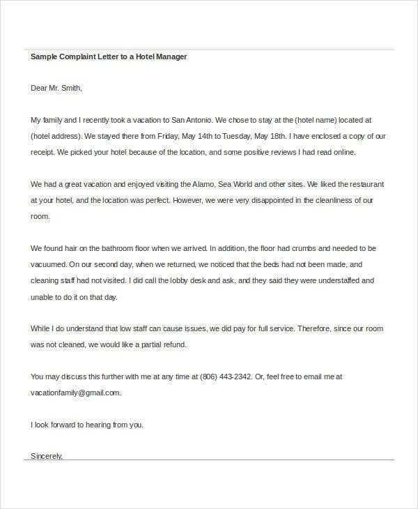 sample complaint letter to hotel manager