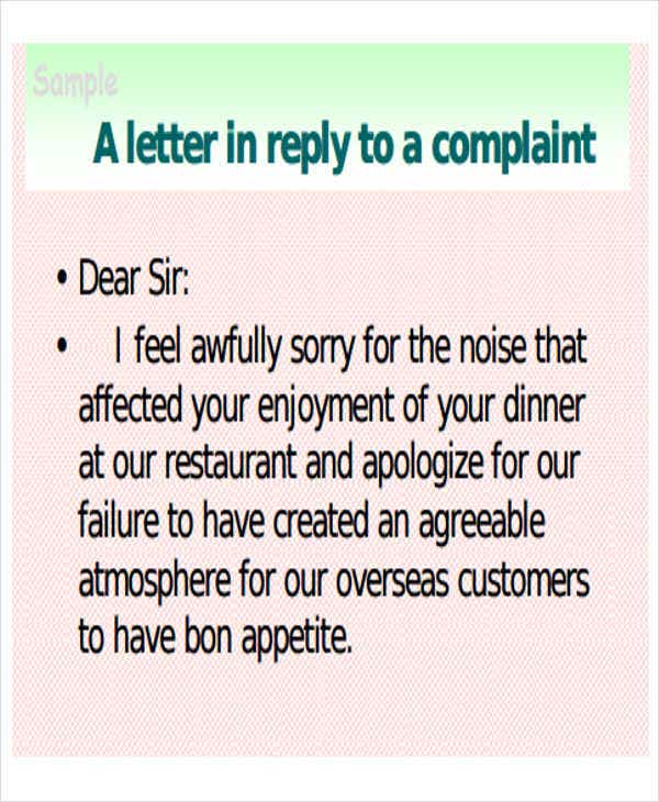 reply to restaurant complaint letter sample