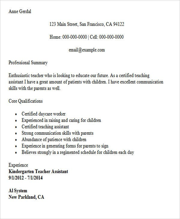 sample resume for kindergarten teacher assistant1