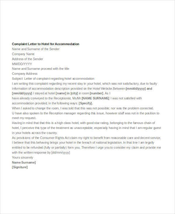 complaint letter to hotel for accommodation