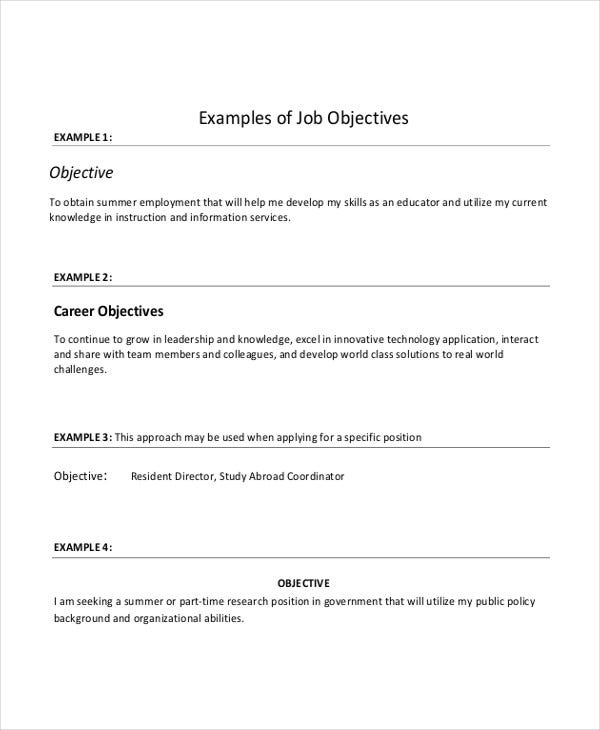 it resume objective sample