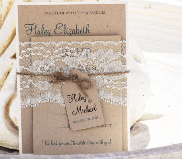 -Rustic Lace Wedding Card