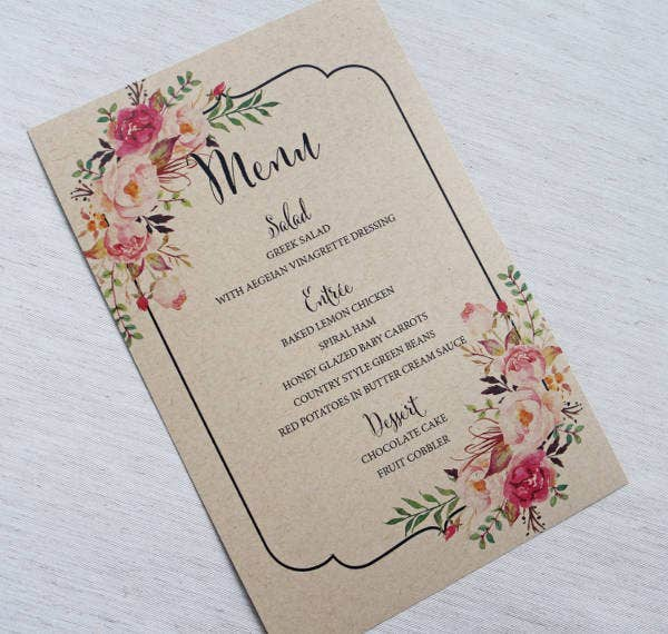 -Rustic Wedding Menu Card