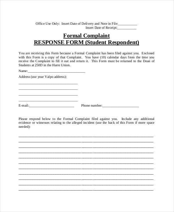 Complaint letter samples 28 free word pdf documents download complaint response form letter spiritdancerdesigns Images