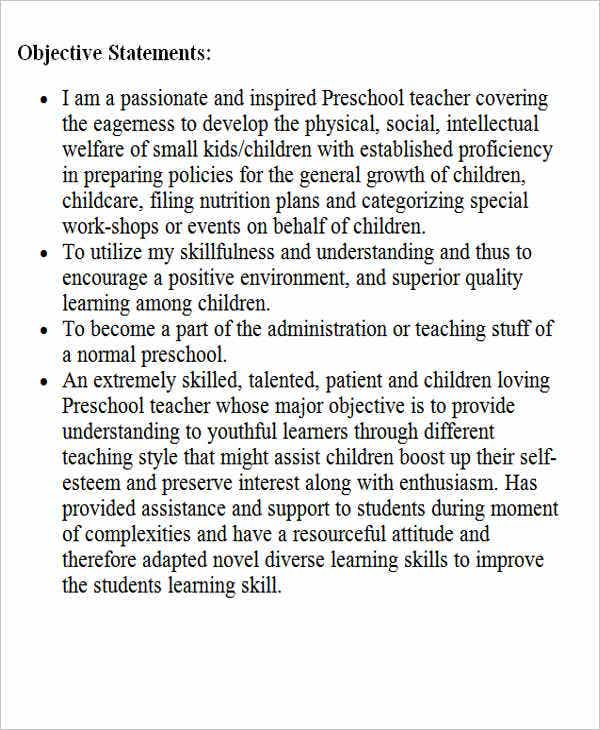 sample preschool teacher resume objective1