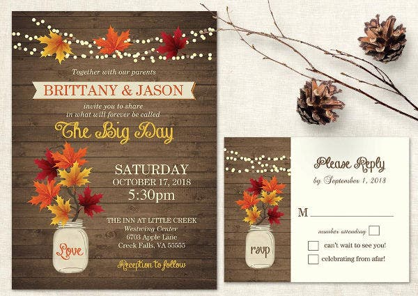 -Rustic Halloween Wedding Card