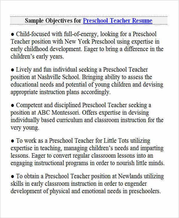 preschool teacher resume objective11