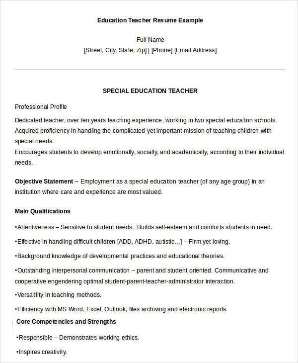 Printable Special Education Teacher Resume Example