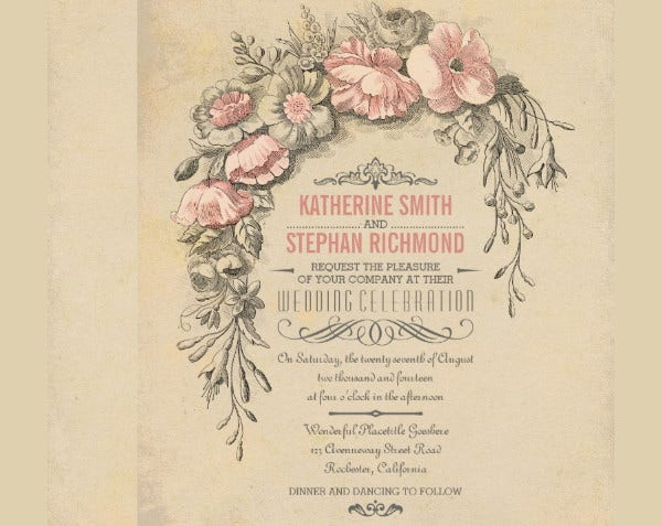 -Vintage Antique Wedding Card