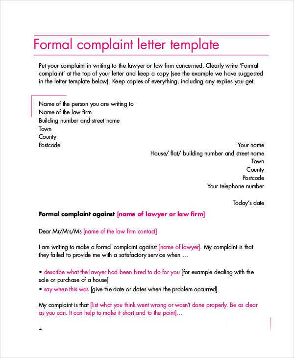 Complaint letter samples 28 free word pdf documents download formal complaint letter format thecheapjerseys Choice Image
