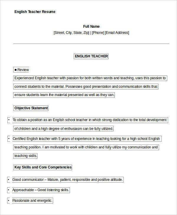 Printable English Teacher Resume