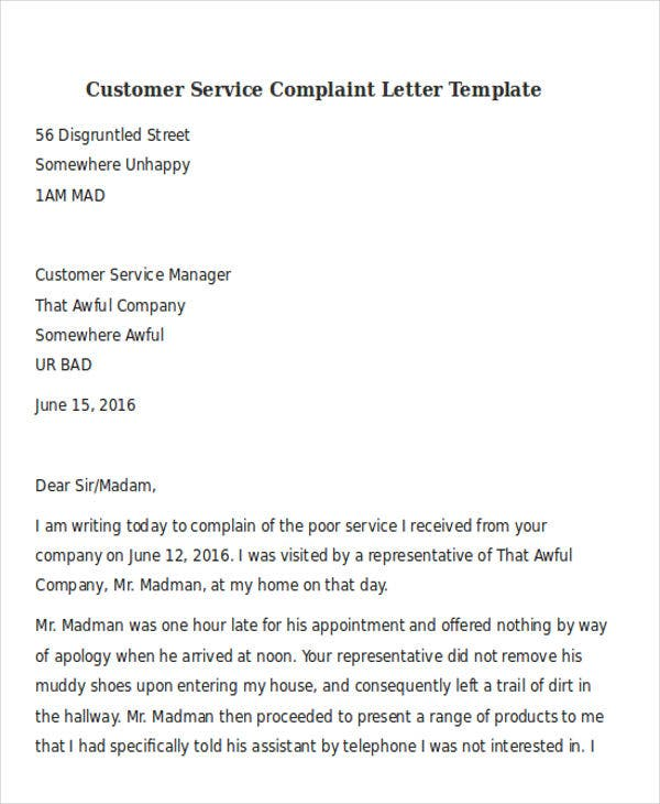 31 complaint letter formats doc pdf free premium for Customer service message template