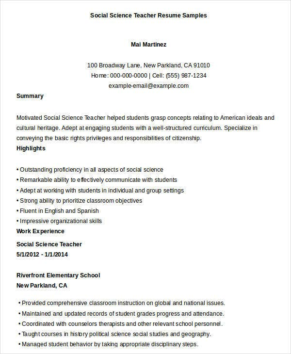 Teacher Resumes Samples  Sample Resume And Free Resume Templates