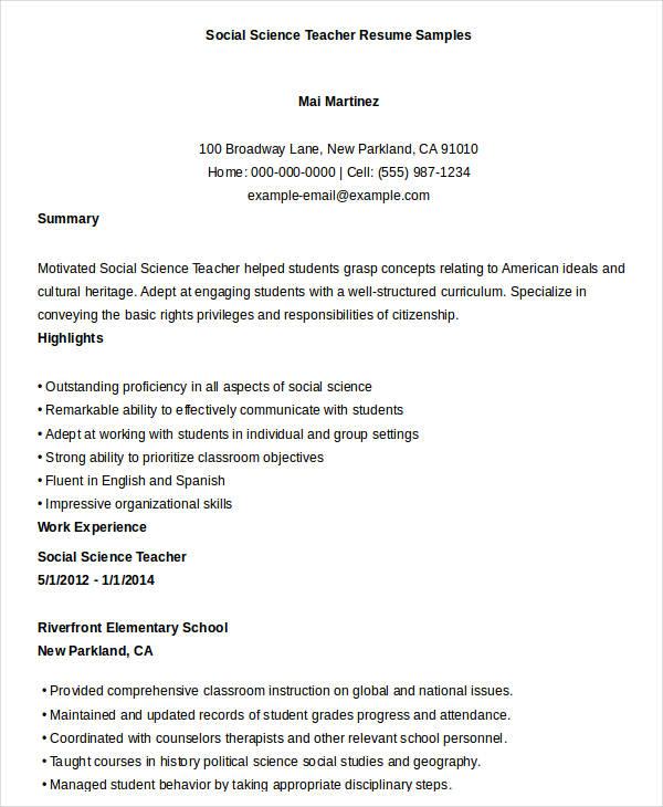Teacher Resumes BSR Resume Sample Library and More - mandegar.info