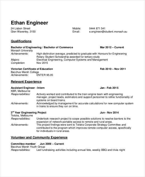 Ordinaire Fresher Resume Format For Engineers