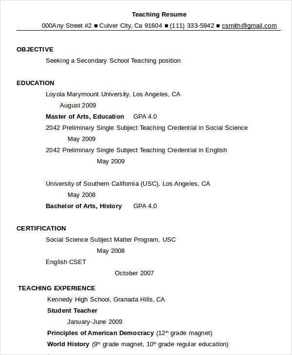 Professional Resume for Teaching