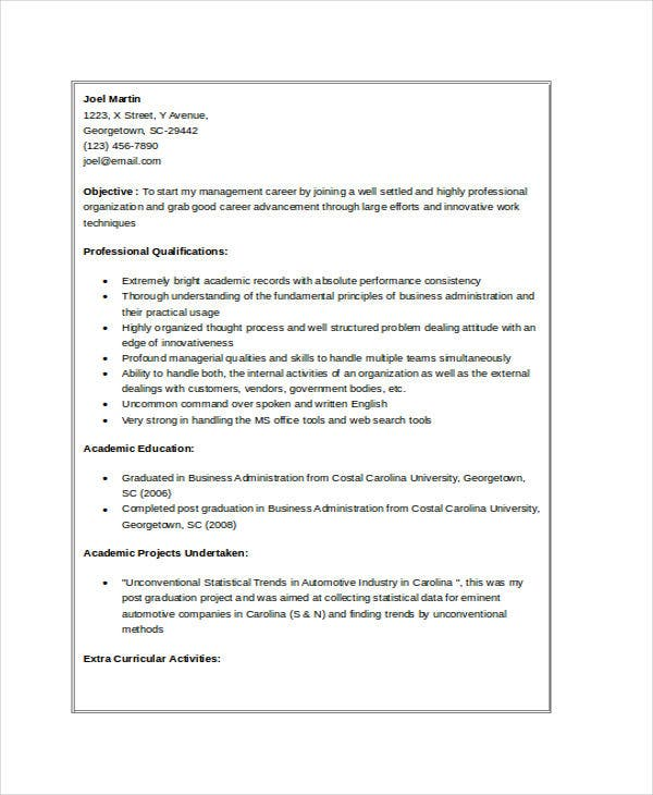 free downloadable mba fresher resume