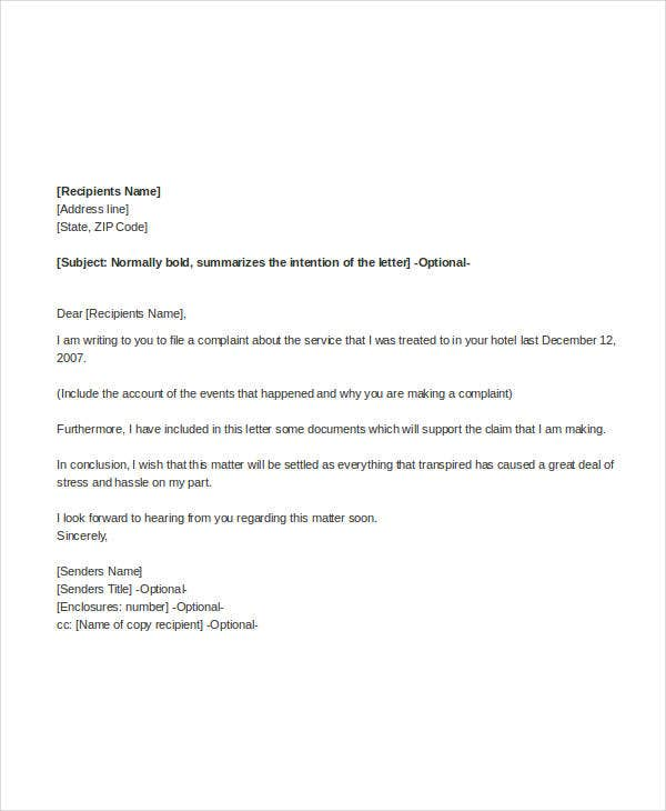 complaint letter templates in word