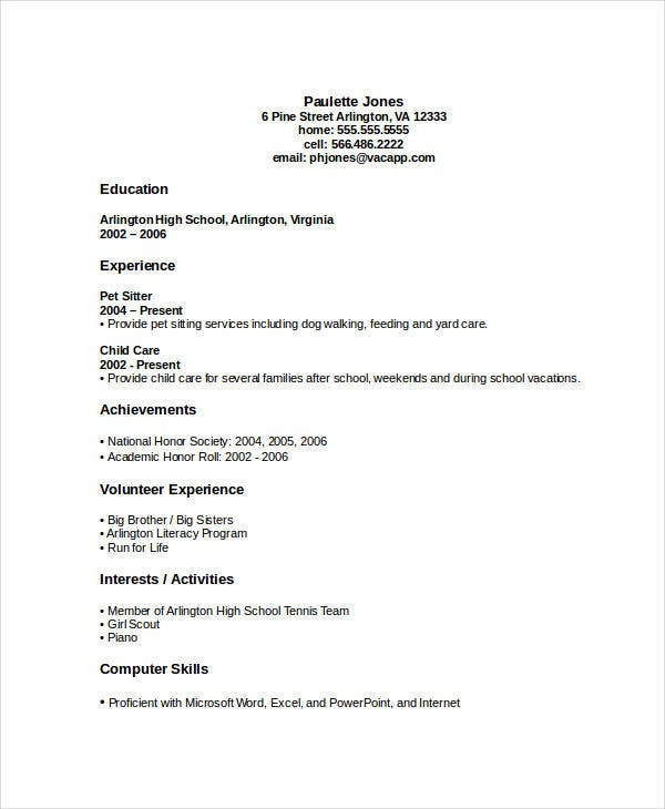 high school graduate resume template download