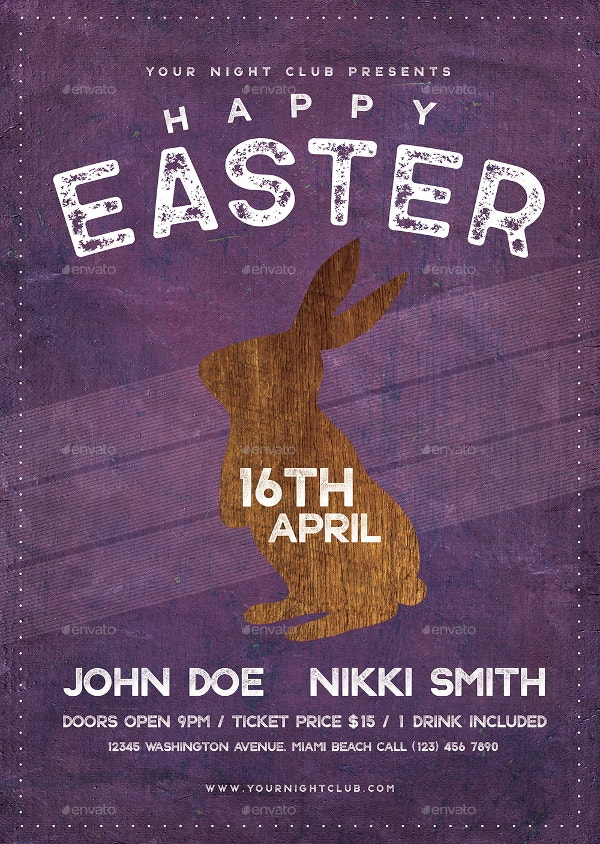 easter night club flyer template