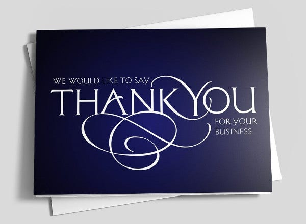 sample business thank you card