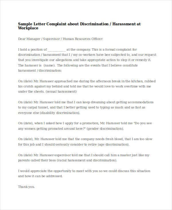 Complaint letter samples 28 free word pdf documents download harassment complaint letter samples harassment at workplace complaint letter arkadylaw thecheapjerseys Image collections
