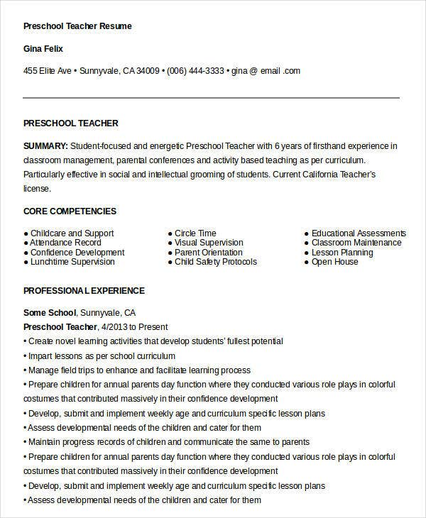 Free Teacher Resume 43 Free Word PDF Documents