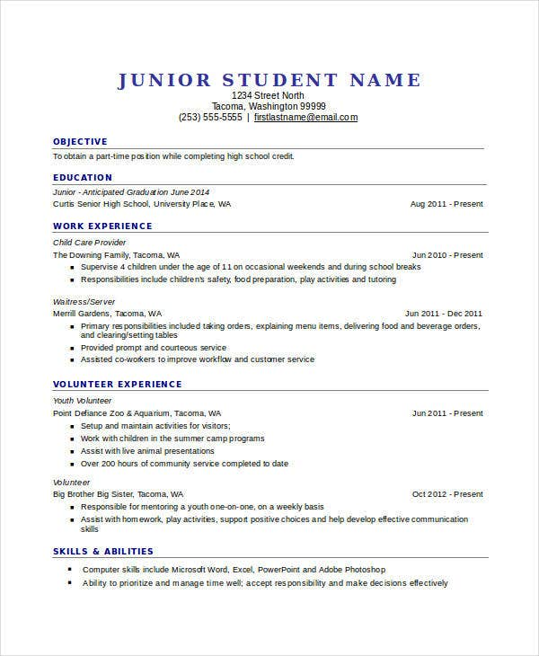 High School Student Resume Template Download  PetitComingoutpolyCo