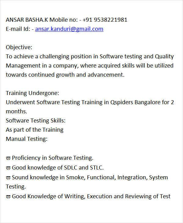 software manual testing resume for fresher