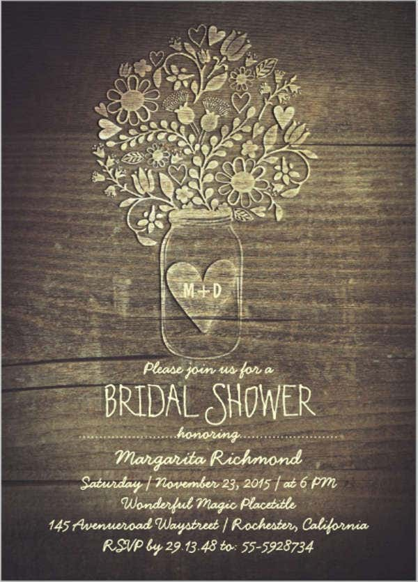 376496ae38e Mason Jar Rustic Bridal Shower Invitation