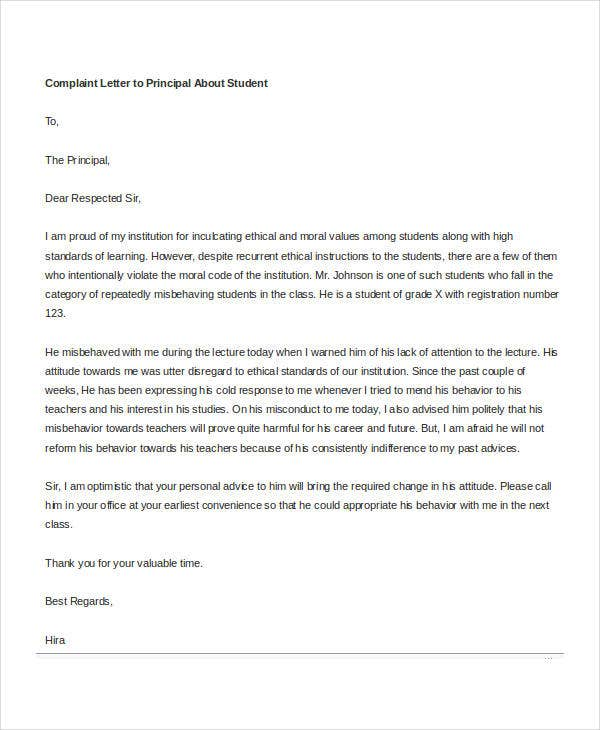 complaint letter to principal about student