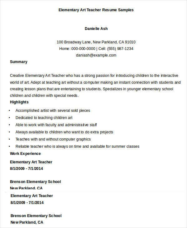 Elementary Art Teacher Resume Sample