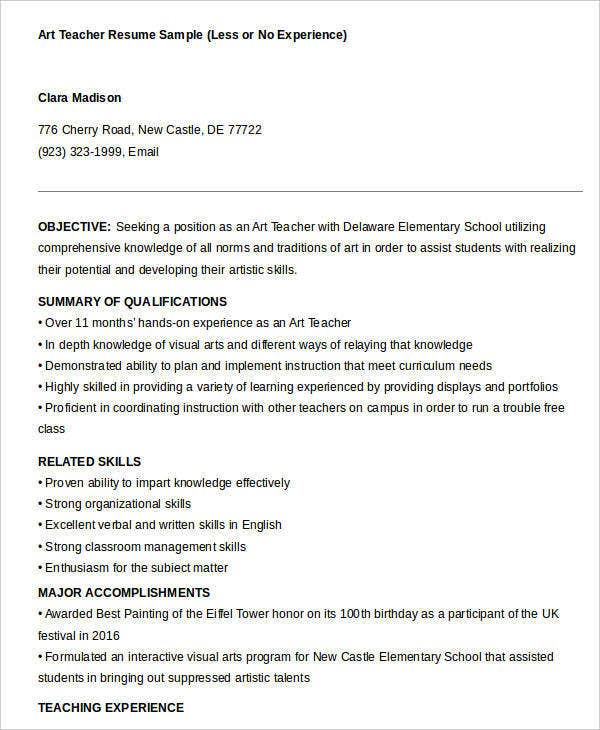 art teacher resume with no experience - Art Teacher Resume