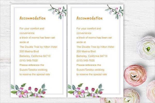 wedding invitation accommodation card