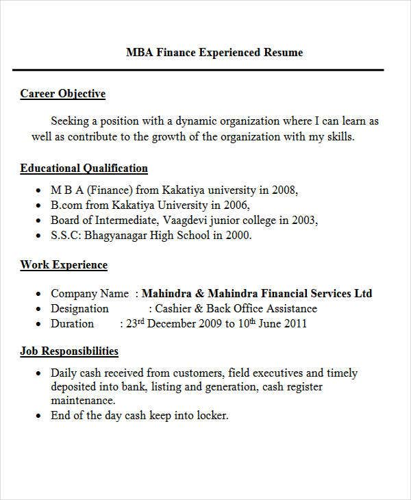 Experienced Resume Format For MBA Finance
