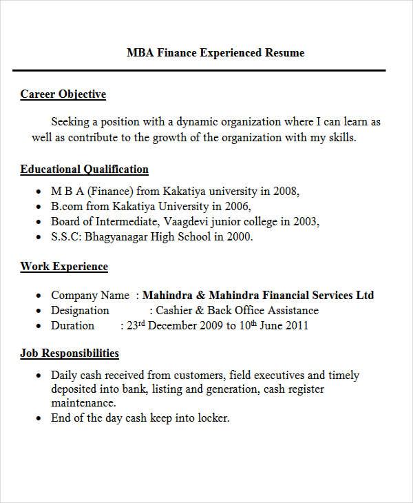 Resume For Freshers Mba Finance