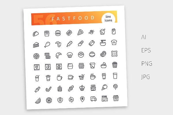 fast-food-line-icons