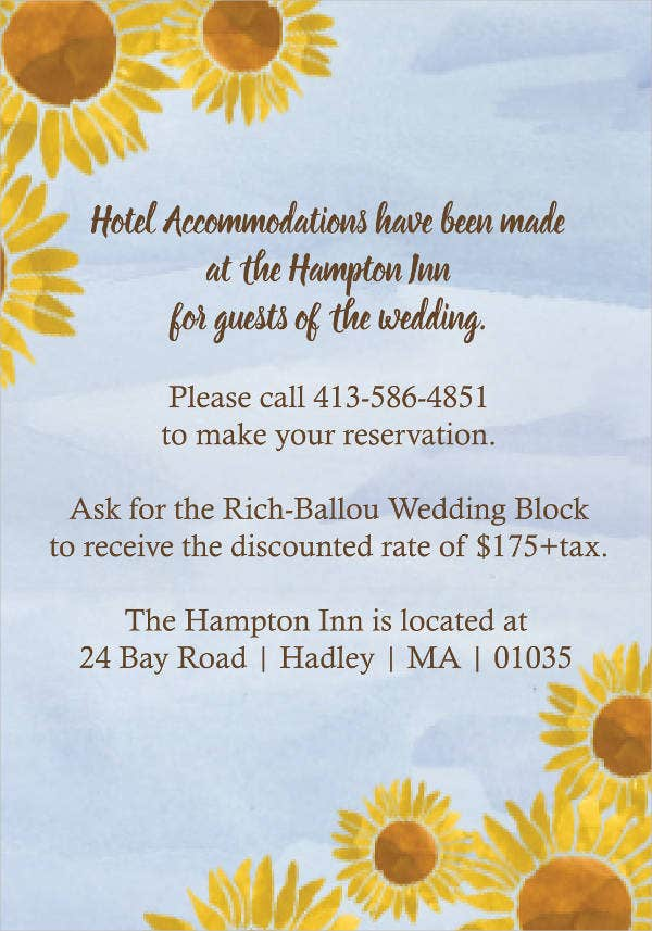 wedding hotel accommodation card