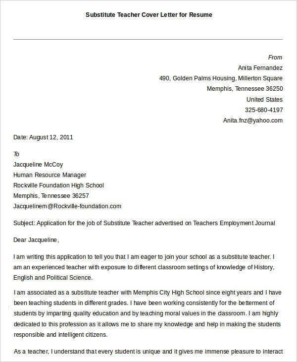 Substitute Teacher Resume Cover Letter