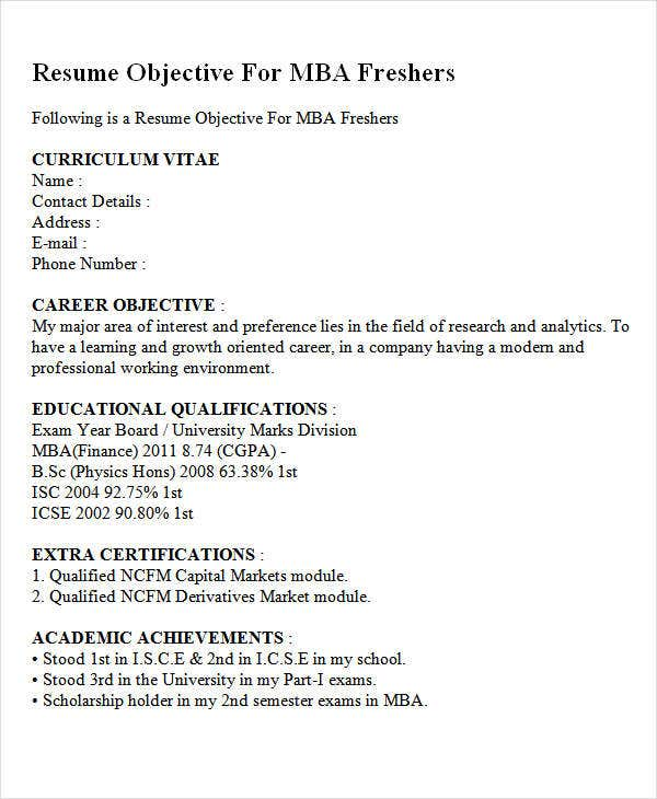 career objective for mba resumes