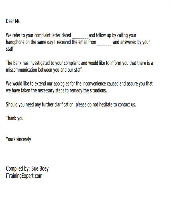 Customer response letter complaint letter for Customer response letter templates