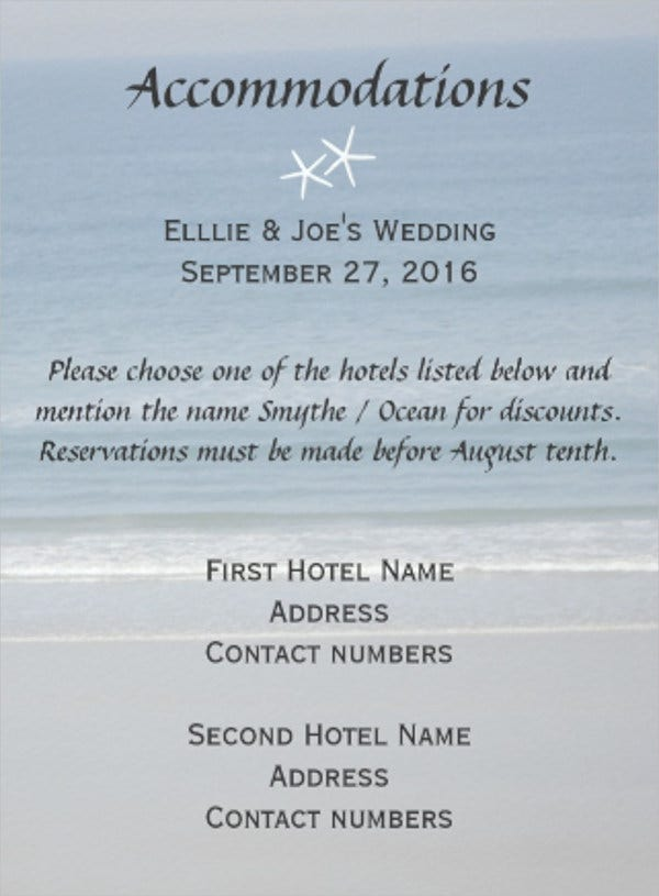 destination wedding accommodation card