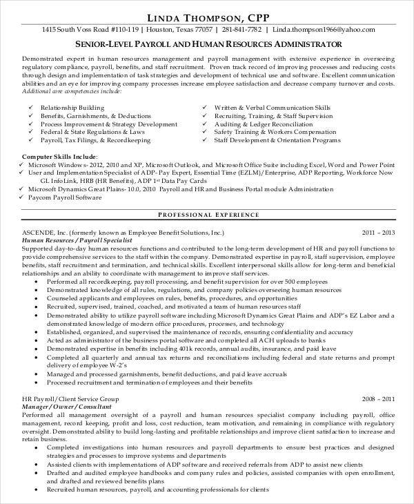 Sample Hr Executive Resume: 45+ Download Resume Templates - PDF, DOC