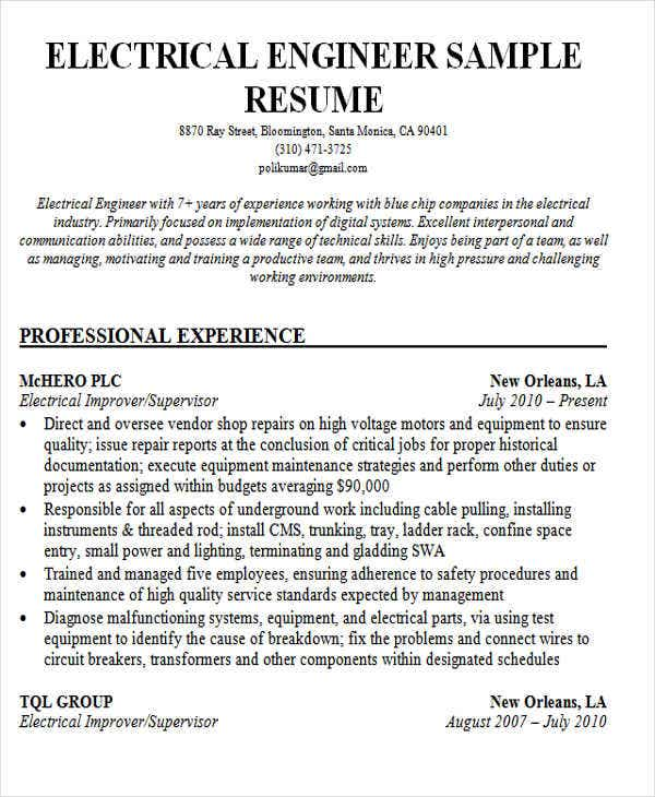 45 fresher resume templates pdf doc free premium for Sample resume of an electrical engineer