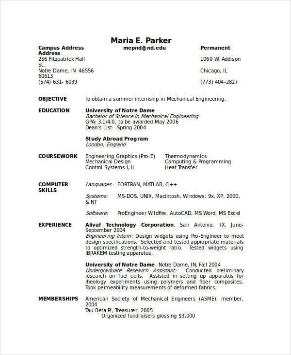 sample resume for internship download