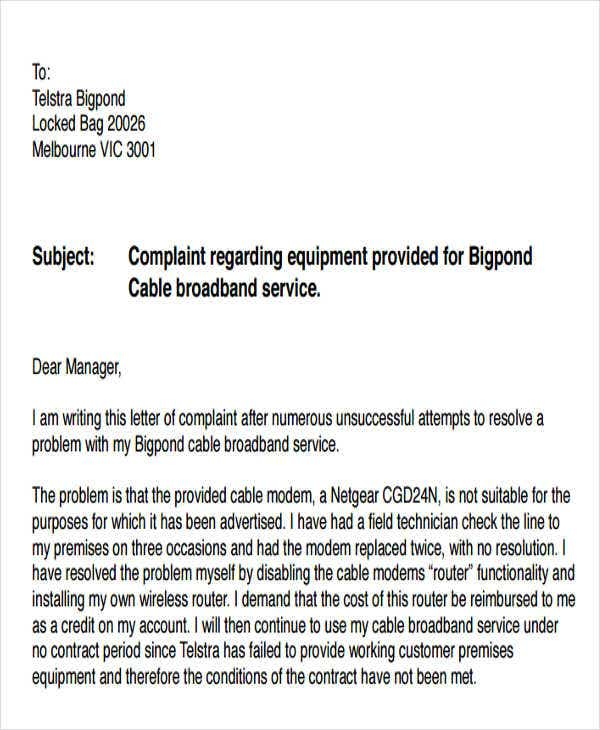 complaint letters for poor service